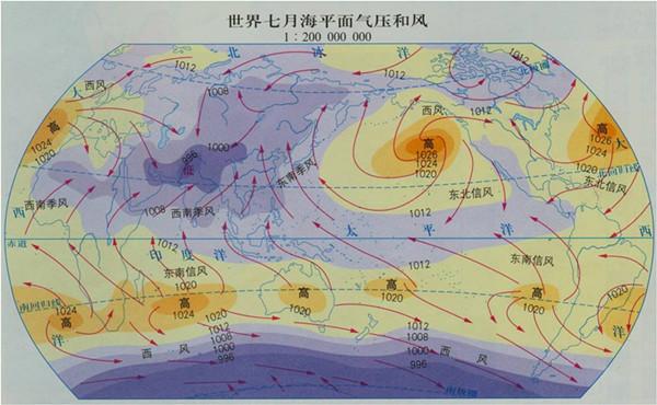 7月海平面气压和风图片