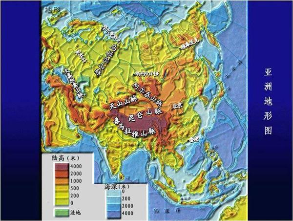 亚洲地形地图_2013高考地理重点地图:亚洲地形图-学科网资讯中心