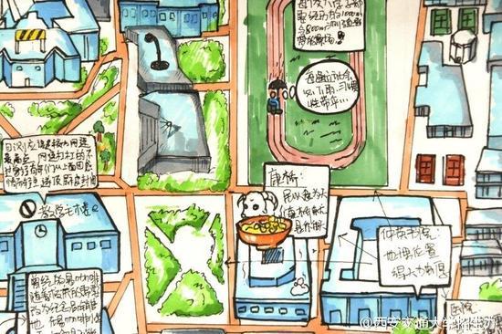 男生手绘校园地图送学妹