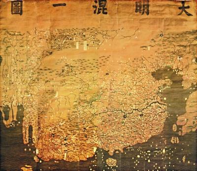 明朝绘疆域地图《大明混一图》,图上标出周边国家